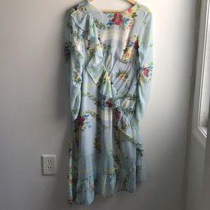 NWT ASOS sky blue ruffle asymmetrical midi dress